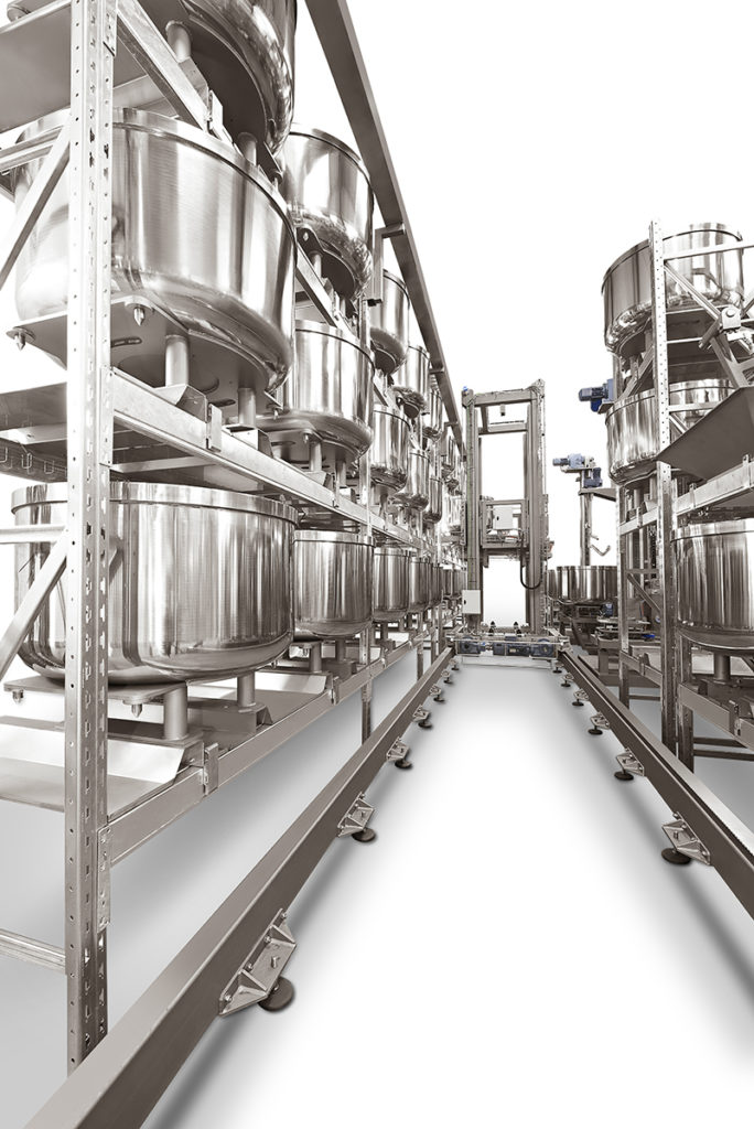 Automated mixing system with resting area for fermentation